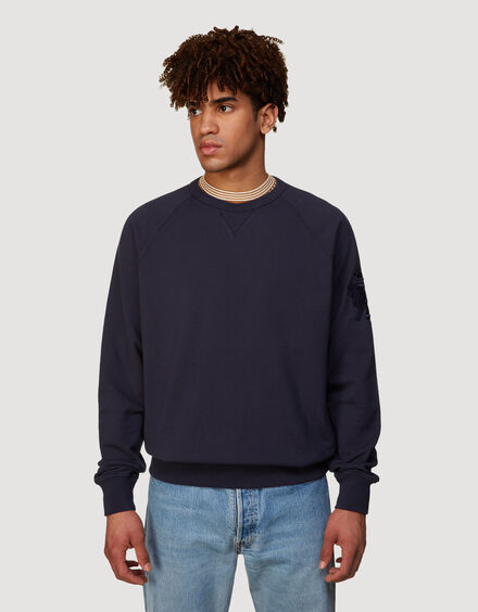 BARACUTA Summer Fleece Crewneck Ink Blue 1