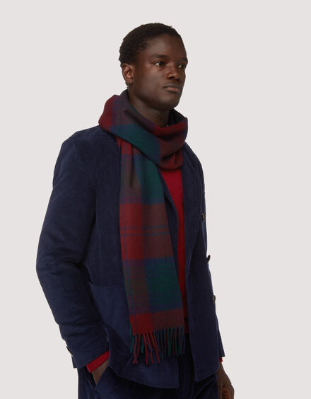 BARACUTA Check Wool Stole Check Navy /Red 1
