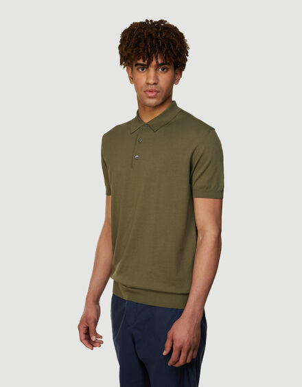 BARACUTA Ss Polo Knit Military Olive 2