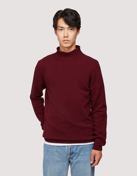 BARACUTA Eco Cashmere Chunky Mockneck Grape Wine 1