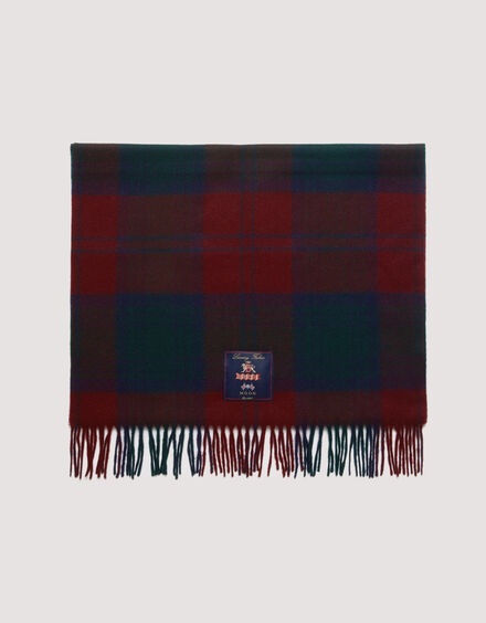 BARACUTA Check Wool Stole Check Navy /Red 2