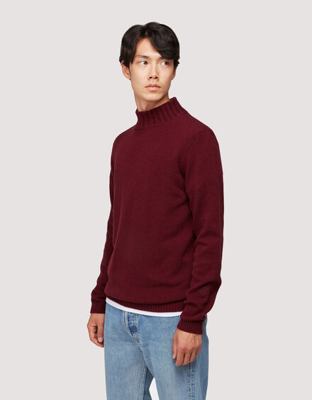 BARACUTA Eco Cashmere Chunky Mockneck Grape Wine 2