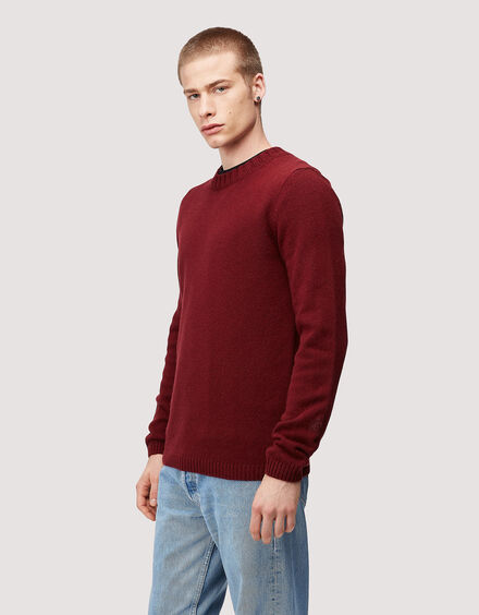 BARACUTA Eco Cashmere Chunky Sweater Grape Wine 2