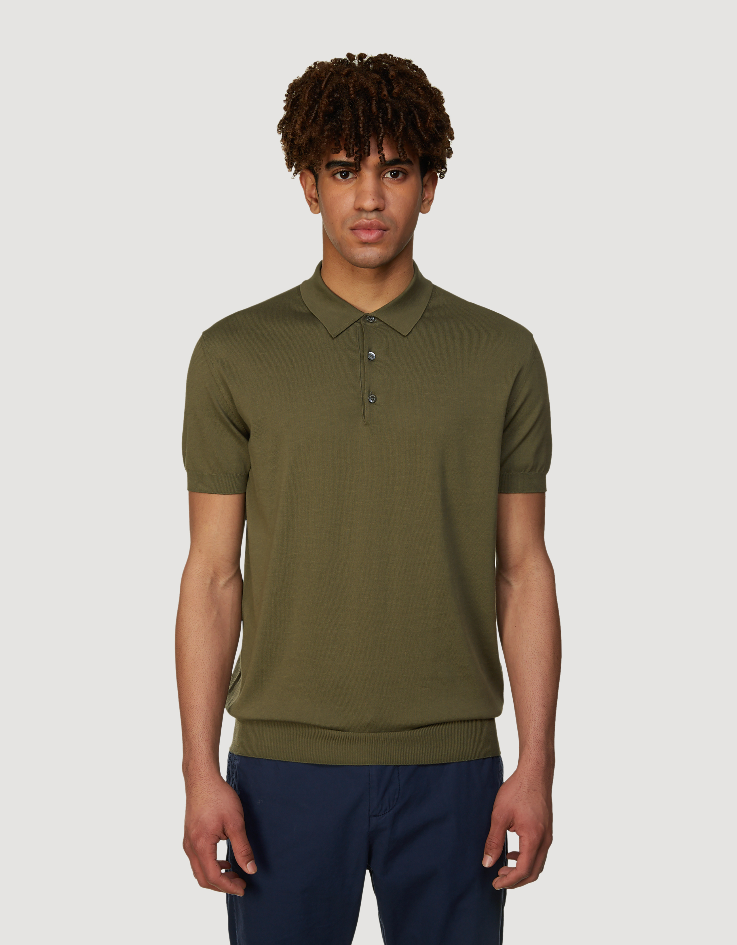 BARACUTA Ss Polo Knit Military Olive 1
